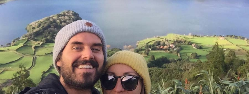 Azores panorama with couple