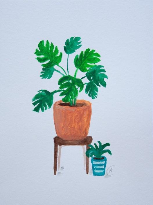 gouache painting - 2 plants