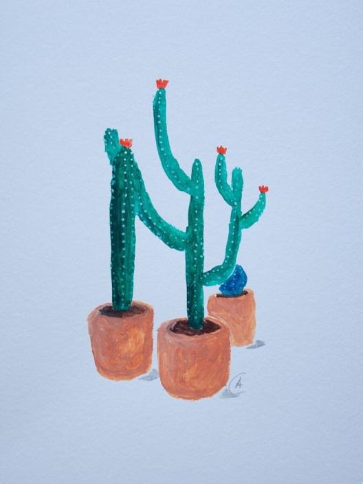 gouache painting - 3 cacti