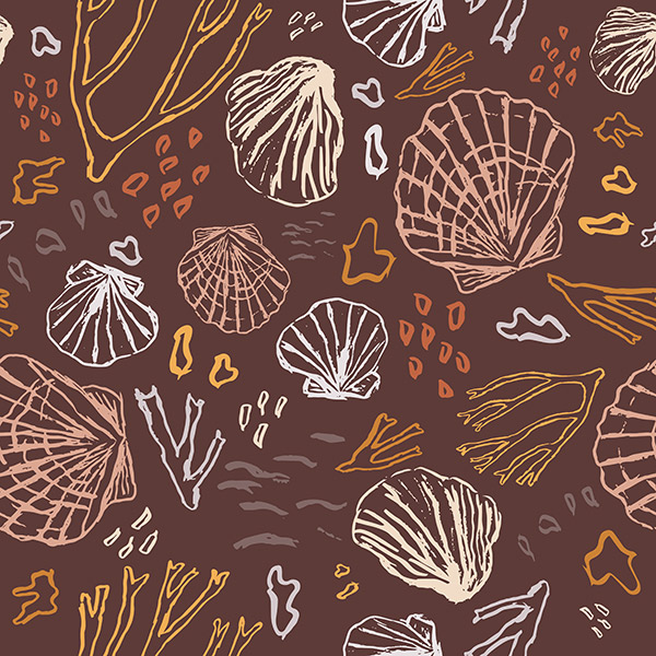 Ocean pattern - deep sea treasures warm