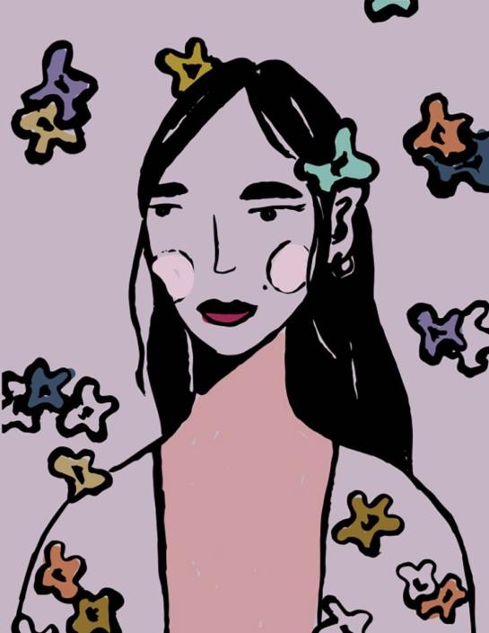 digital illustration - flower girl