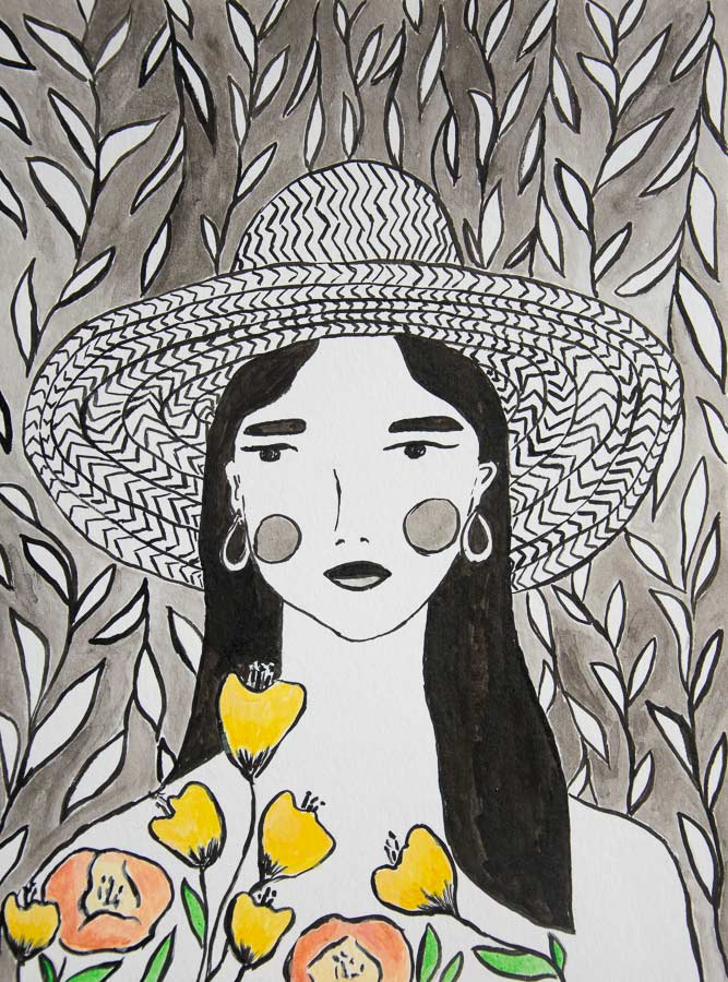 Indian ink and gouache - in bloom