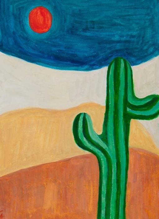 gouache painting - in the desert