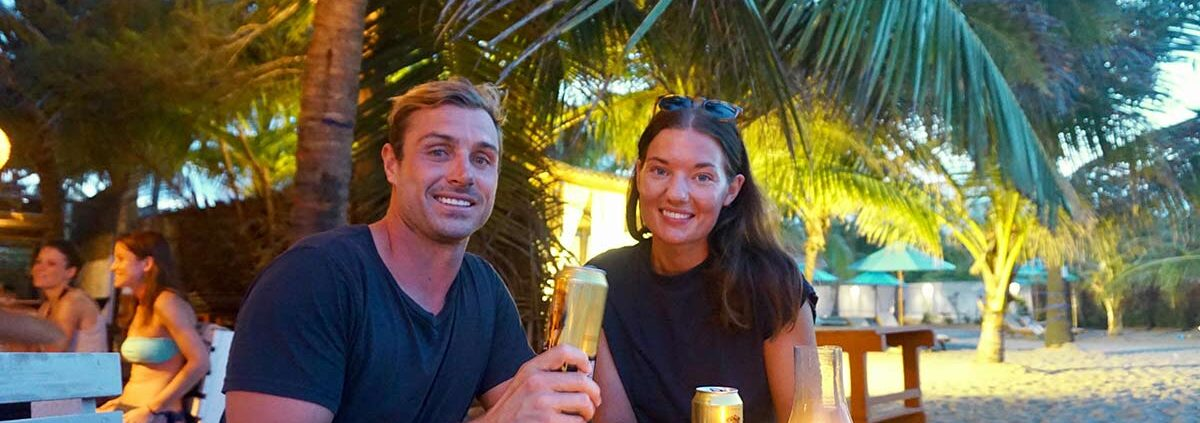 couple with drinks - Rozanna and Jono