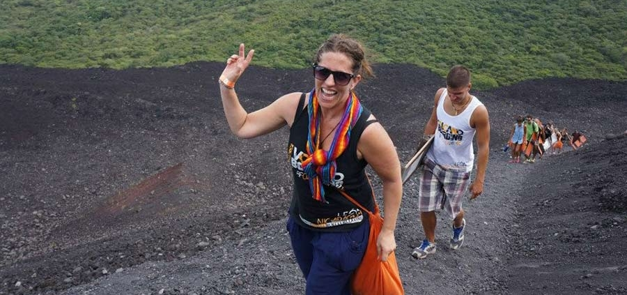 walking up a volcano - Angie