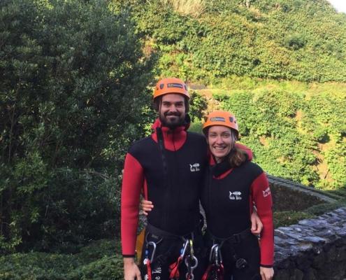 Azores - couple canyoning