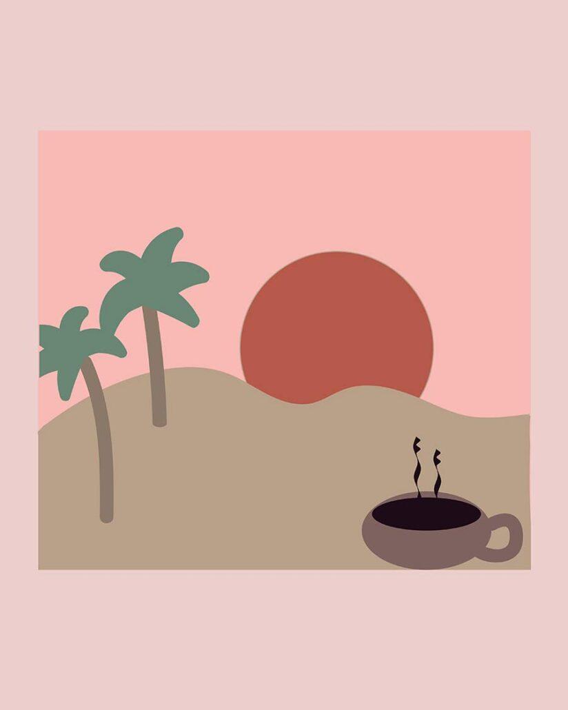 digital illustration - coffee in the desert