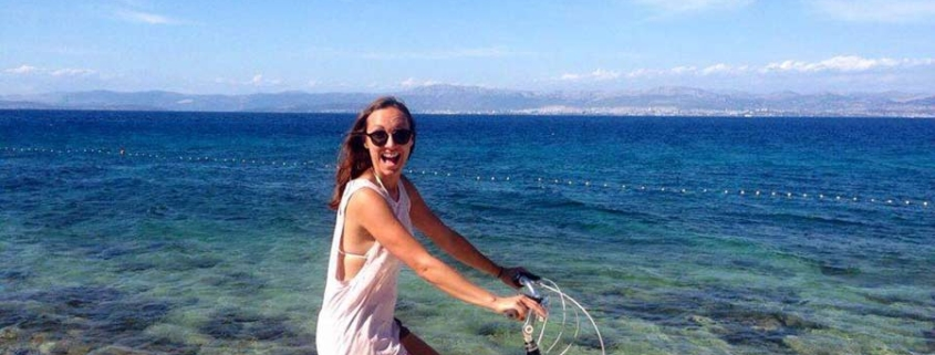 woman on bike - island life