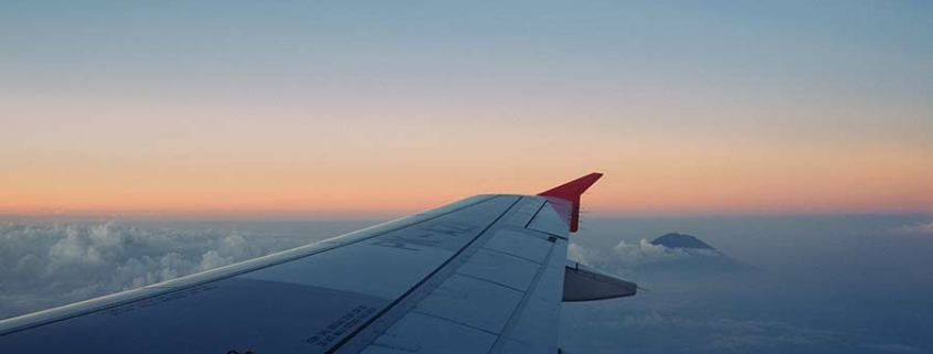 wing of airplane - jet lag