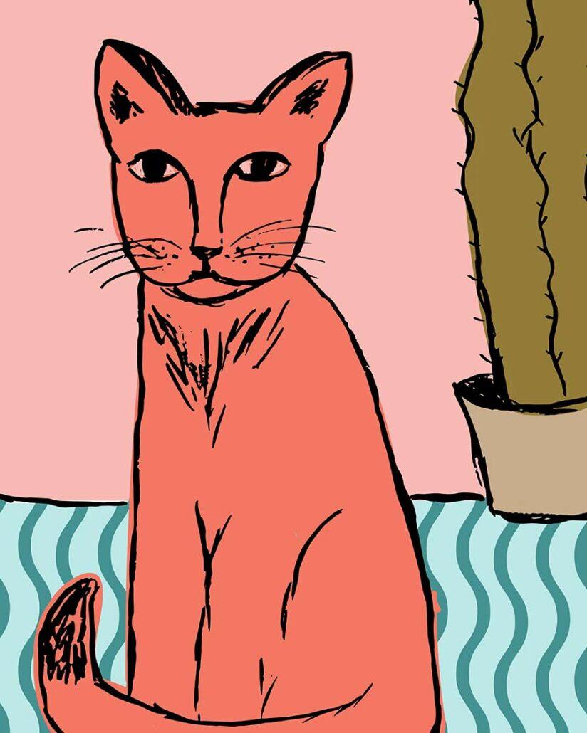 digital illustration - pink cat