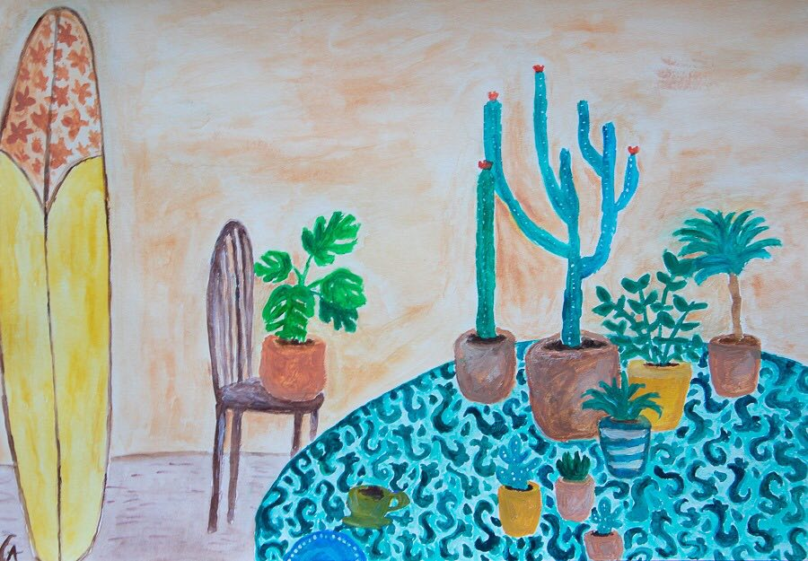 gouache painting - still life plants with surfboard