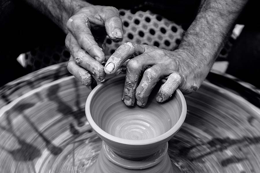 hands on pottery wheel - wheel of thought