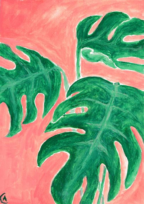 gouache painting - monstera