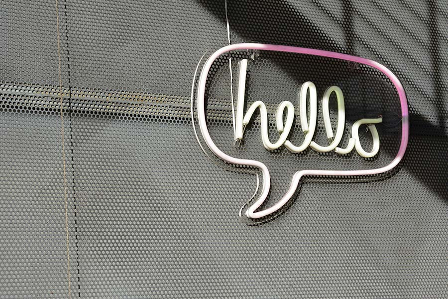 hello sign - good at speaking English