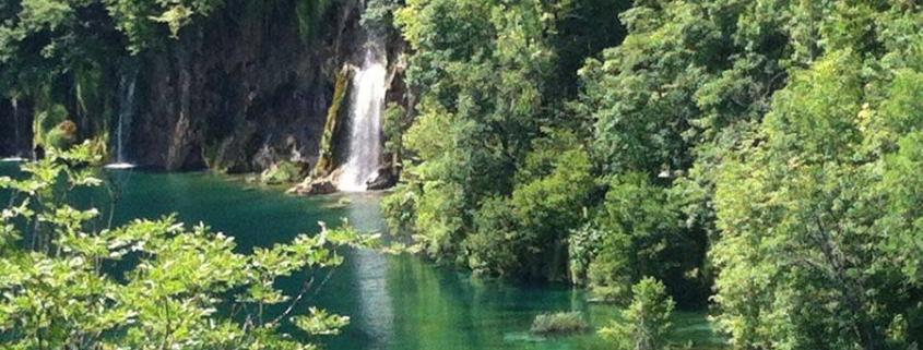 lake with waterfall - stillness
