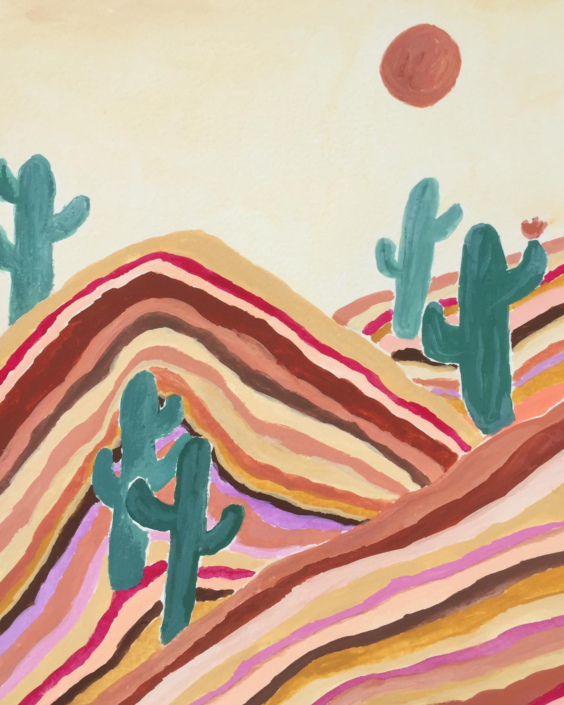 painting of sand dunes and cacti - designsoup by alix