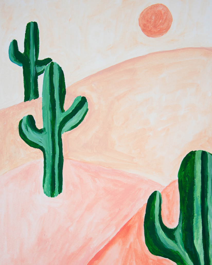 Painting of a pink desert with cacti - designsoup by alix