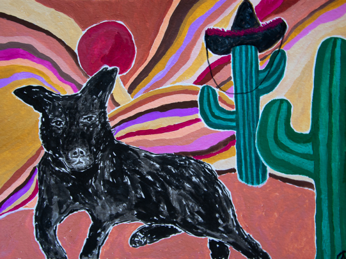 painting of a dog in the desert with cacti - designsoup by alix