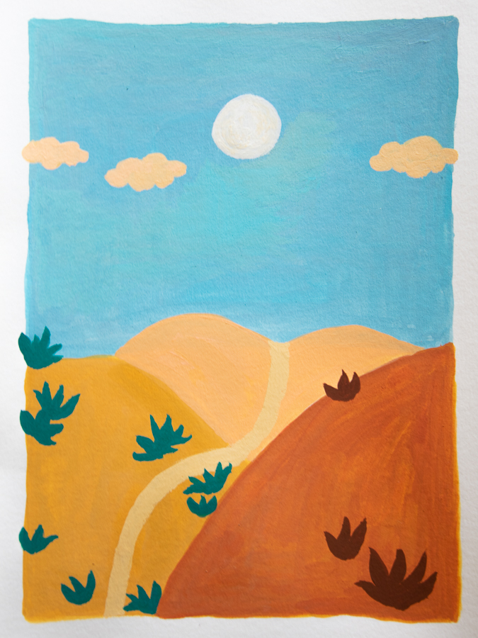painting of sand dunes, moon, pink clouds - designsoup by alix