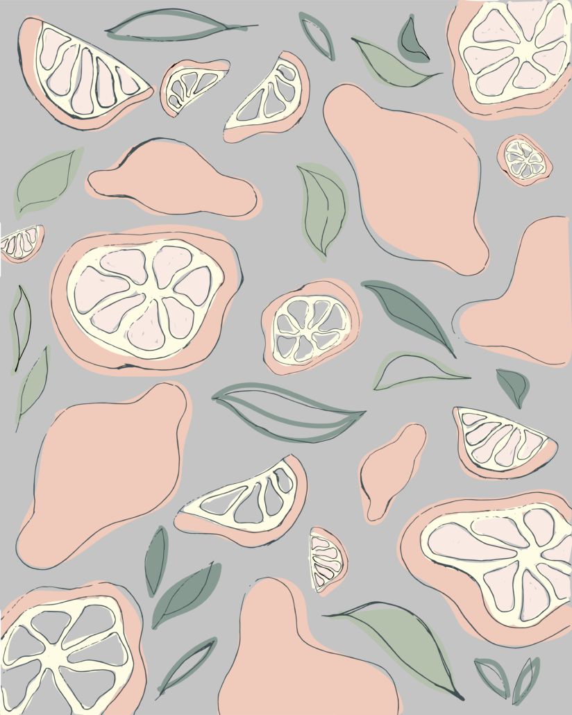 illustration of lemons with leaves - designsoup by alix