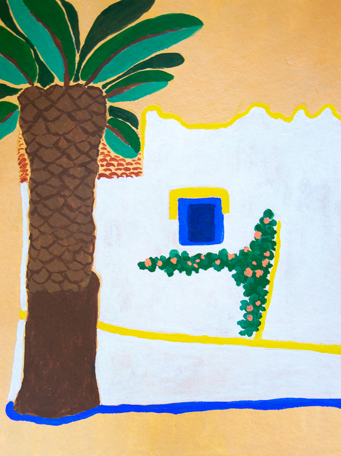 painting of a typical Portugues house with palm tree - designsoup by alix