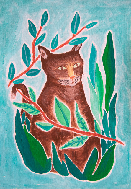 Painting of a cat with leaves - designsoup by alix