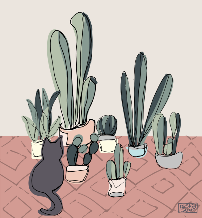 illustration of cacti and a cat - designsoup by alix