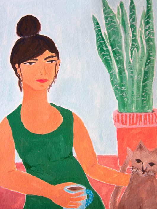 Painting of a girl with coffee, cat and plant - designsoup by alix