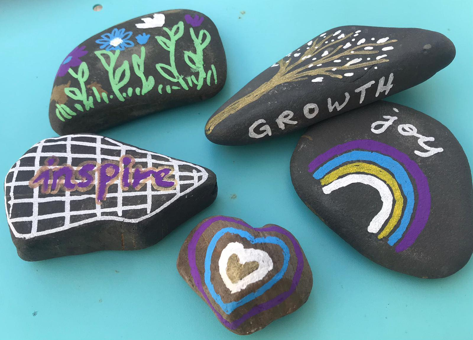 painted colourful stones - joy in everyday life