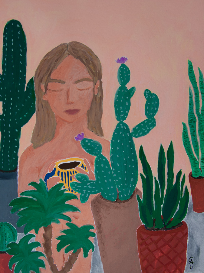 Painting of a girl with plants drinking coffee - designsoup by alix