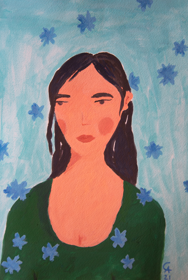 Painting of a girl with flowers - designsoup by alix