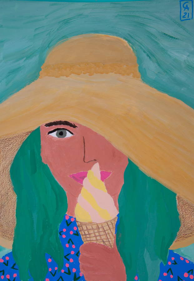 painting of a girl with a hat and ice cream - designsoup by alix