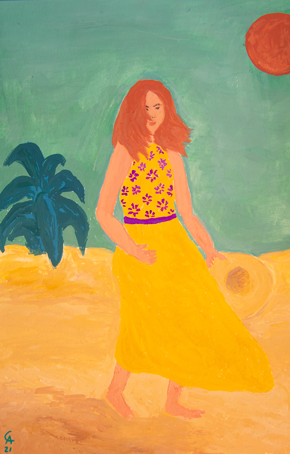 Girl walking along a beach in the wind - designsoup by alix