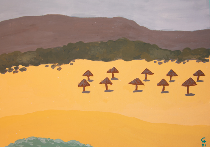 Beach view with umbrellas - designsoup by alix