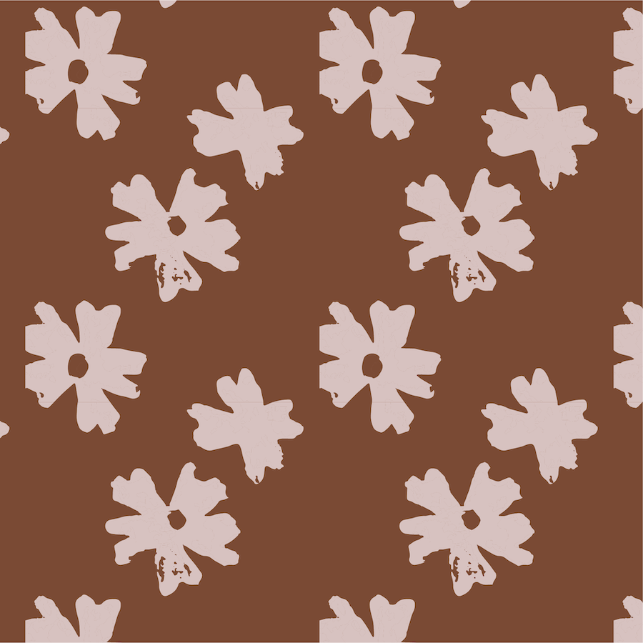 floral pattern - hallow mallow rust