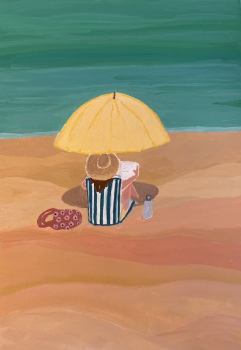 girl sitting on the beach with a yellow umbrella - designsoup by alix